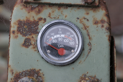 a broken temperature gauge