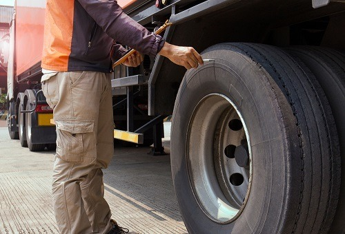 Checking the Truck Tires