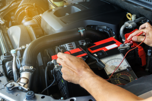 Checking the voltage level in a car battery